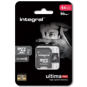 INTEGRAL 64GB MICRO SDXC class10 90MB/s SPOMINSKA KARTICA+ SD ADAPTER