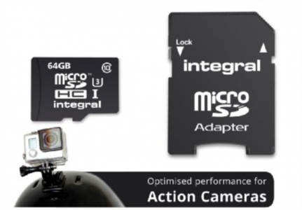 INTEGRAL 64GB ACTION CAMERA MICRO SDXC class10 UHS-I U3 90MB/s SPOMINSKA KARTICA+ SD ADAPTER