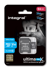 INTEGRAL 64GB microSDXC 280-100MB/s UHS-II V60 + SD adapter