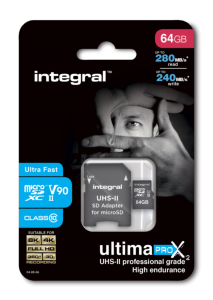 Integral 64GB microSDXC 280-240MB/s UHS-II V90 + SD adapter