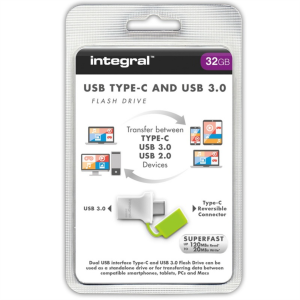 INTEGRAL FUSION 32GB USB-C in USB3.0 spominski ključek