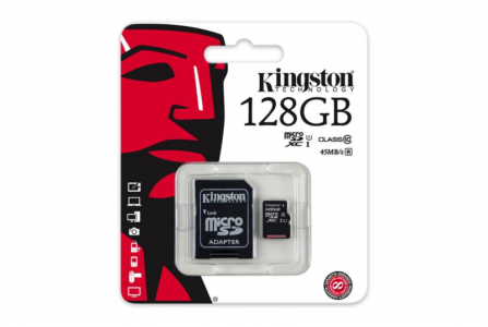 KINGSTON 128GB MICRO SDXC class10 45MB/s SPOMINSKA KARTICA+ SD ADAPTER