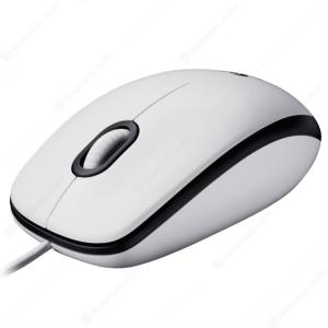 Logitech M100 optična miška, bela, USB