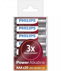 PHILIPS BATERIJA - AAA POWER ALKALINE BLISTER 20 KOS (LR03)