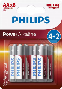 PHILIPS BATERIJA AA - POWER ALKALINE BLISTER 4 KOS (LR6)