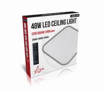 Stropna LED luč, kvadrat, 48W OPAL+ daljinski upravljalec