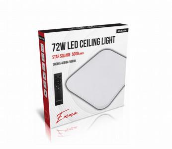 Stropna LED luč, kvadrat, 72W STAR + daljinski upravljalec