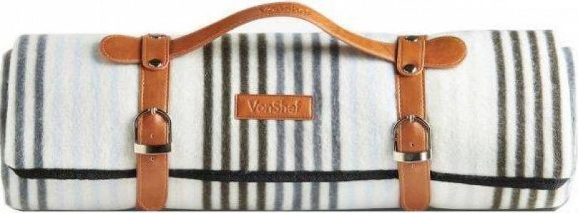 VonShef odeja za piknik 147 x 180cm, črtasta
