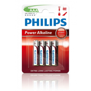 PHILIPS BATERIJA - AAA POWER ALKALINE BLISTER 4 KOS (R03)