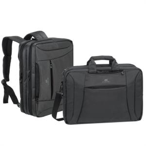 """RivaCase ogljeno črna spremenljiva torba/nahrbtnik za prenosni računalnik 16"""" 8290"""