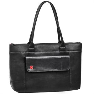 """RivaCase usnjena ženska torba za prenosnik 15.6"""" črna 8991"""