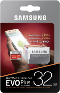 Samsung 32GB EVO+ MICRO SDHC UHS-I  class10 U1 FHD 95MB/s SPOMINSKA KARTICA+ SD ADAPTER