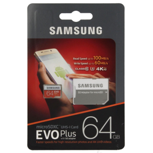 Samsung 64GB EVO+ MICRO SDXC UHS-I  class10 U3 4K UltraHD 100MB/s SPOMINSKA KARTICA+ SD ADAPTER