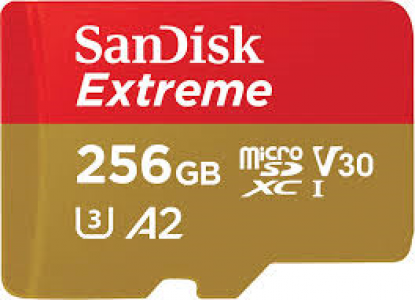 SanDisk Extreme 160 MB/s micro SDXC 256GB C10 U3 V30 A2 UHS-I, adapter