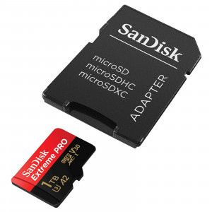 SanDisk Extreme microSDXC 1TB + SD Adapter + Rescue Pro Deluxe 160MB/s A2 C10 V30 UHS-I U3