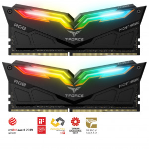 Teamgroup Night Hawk RGB 16GB Kit (2x8GB) DDR4-3600 DIMM PC4-28800 CL18, 1.35V
