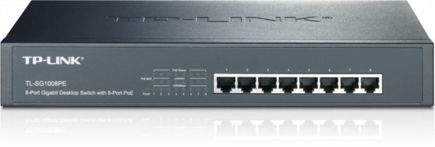 TP-LINK TL-SG1008PE 8-port Gigabit Desktop/Rackmount Switch z 8-port PoE+