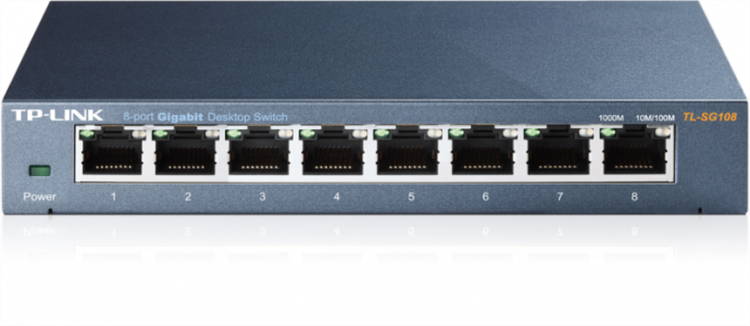 TP-LINK TL-SG108 8-portni Gigabit switch, podpira QoS (IEEE 802.1p) funkcijo
