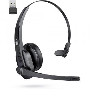 TaoTronics BT + USB mono naglavna slušalka AI Noise Canceling TT-BH041