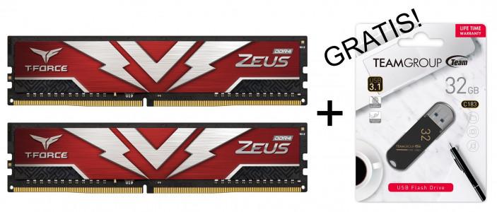 Teamgroup Zeus 16GB Kit (2x8GB) DDR4-3200 DIMM PC4-24000 CL16, 1.35V + GRATIS USB 32GB PROMO