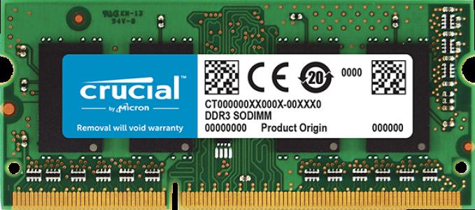 Crucial 4GB DDR3L-1866 SODIMM PC3-14900 CL13, 1.35V/1.5V Single Ranked