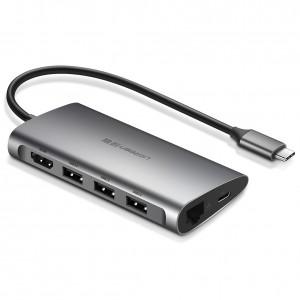 Ugreen USB-C on 3xUSB3.0 + HDMI + RJ45 + SD & TF hub gray
