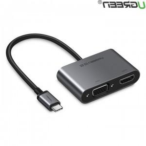 Ugreen USB-C na HDMI+VGA adapter siv