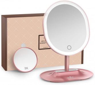 Anjou namizno ogledalce z LED osvetlitvijo in 1x/5x povečavo