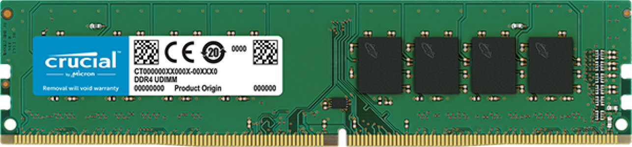 Crucial 4GB DDR4-2400 UDIMM PC4-19200 CL17, 1.2V Single Ranked
