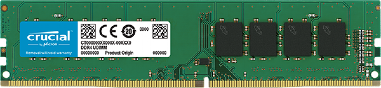 Crucial 8GB DDR4-3200 UDIMM PC4-25600 CL22, 1.2V - Single Ranked