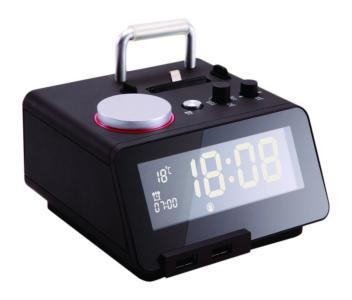 Homtime digitalna alarm ura črna SD/Bluetooth/FM/Aux/Lightning docking