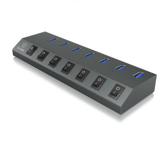 Icybox 7 port hub and charger IB-HUB1701-U3 with USB-C connection