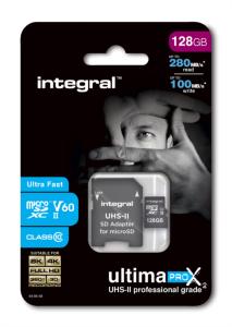 INTEGRAL 128GB microSDXC 280-100MB/s UHS-II V60 + SD adapter