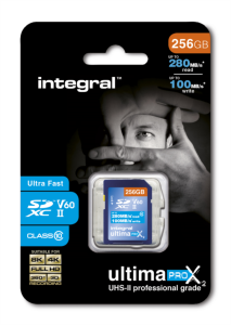 Integral 256GB ULTIMAPRO X2 SDXC 280/100MB UHS-II V60 spominska kartica