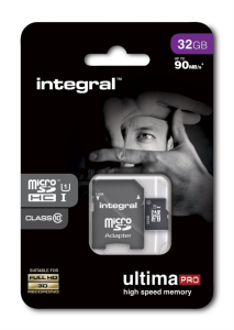 INTEGRAL 32GB MICRO SDHC class10 90MB/s SPOMINSKA KARTICA+ SD ADAPTER