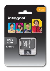 INTEGRAL 4GB MICRO SDHC class4  SPOMINSKA KARTICA+ SD ADAPTER