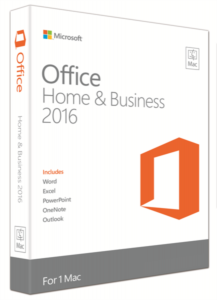 Microsoft Office Mac Home & Business 2016, FPP, English