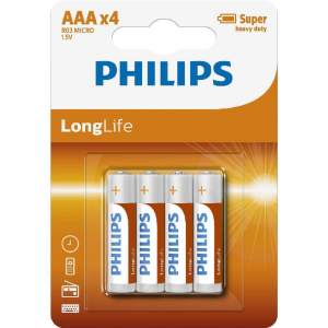 PHILIPS BATTERY - AAA LONGLIFE BLISTER 4 PCS (R03)
