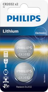 PHILIPS baterija CR2032, 3V, 2 kos