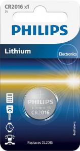 PHILIPS battery CR2016, 3V