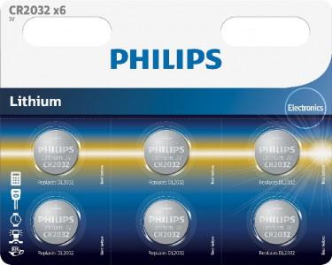PHILIPS battery CR2032, 3V, 6 pcs