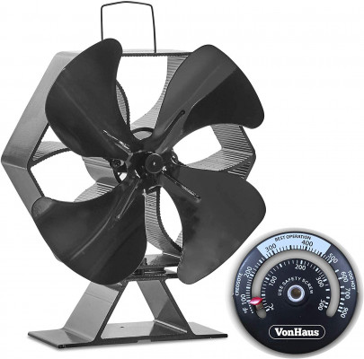 VonHaus fan for fireplace XL black aluminum