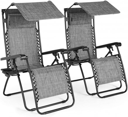 VonHaus set of 2 recliners with sunshade 2500165