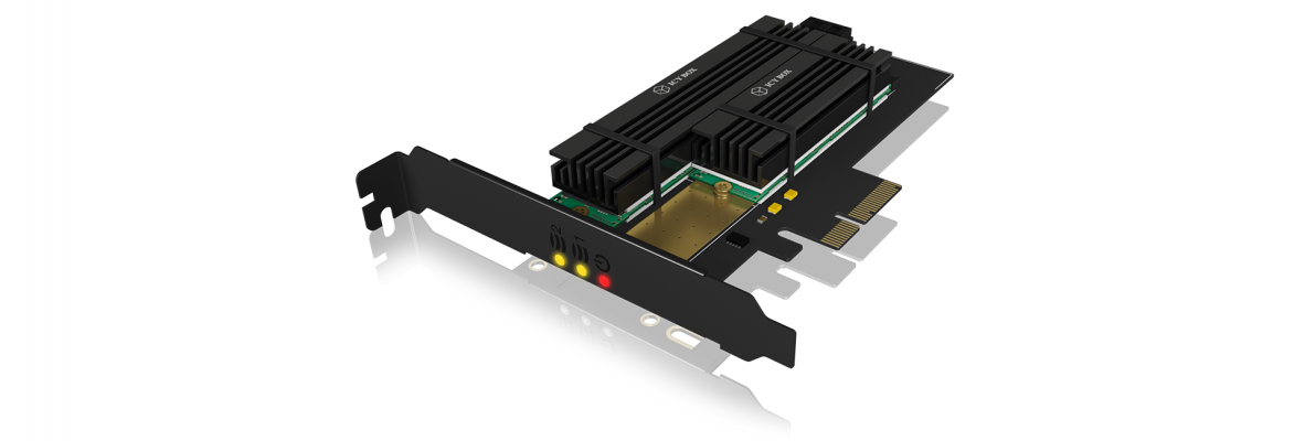 Icybox PCIe expansion card for 2x M.2 SSDs with cooler