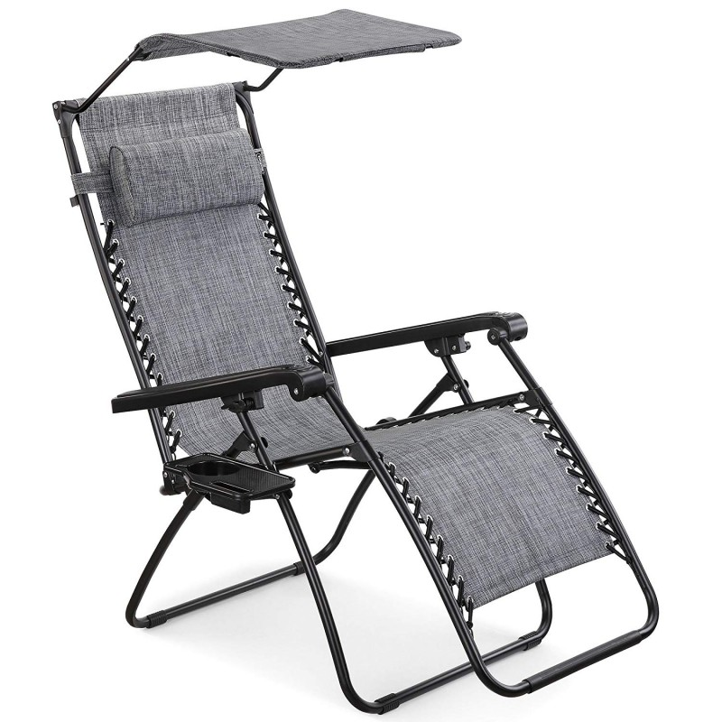 VonHaus recliner Zero Gravity sa sjenom i stolom sivom