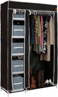 VonHaus prijenosni tekstilni ormar, crne boje