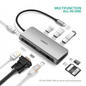 Ugreen Tip C Višenamjenski USB koncentrator sivo