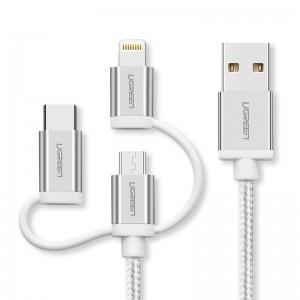 Ugreen USB 2.0 na Micro USB + Lightning + Tip C (3 u 1) podatkovni kabel pleten 1,5m