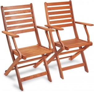 VonHaus set od 2 sklopiva drvena vrtna stolica