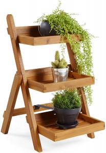 VonHaus drveni stalak za cvijeće na 3 kata
